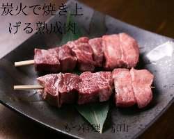 人気NO、1 熟成牛タン,サガリハツの三種焼き串!!