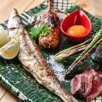 【炉端焼き】 魚介やお肉を備長炭でじっくりと焼き上げます