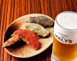 【3種の手羽先】 ジューシーでビールとも相性抜群!