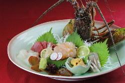 天草から仕入れ、いけすから引き揚げたばかりの新鮮魚介を使用。
