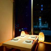 人気の窓際個室席は接待やデートなど、大事なご宴会に最適◎