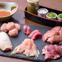 【水炊きのお肉】 鶏肉全般を自家製のスープとポン酢に付けて