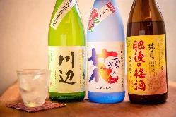 熊本の地酒を種類豊富にご用意。プレミアム単品飲み放題あり♪