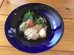 香川から仕入れる粉を使用したうどんは、強いコシが特徴です