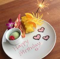 お誕生日などにはプレートデザートを!!