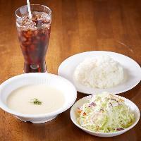 【セット】 ほぼ全品にスープ・サラダ・ライス・ドリンク付