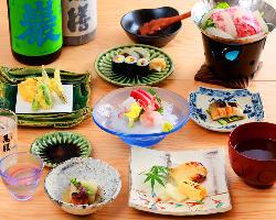 旬の食材を使った自慢の料理。新鮮鮮魚のお造りも◎