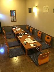 宴席は20名様まで 掘りごたつ席やお座敷完備