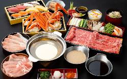 オプションで北海道産ズワイガニ、マグロ、蛸、チーズ串しゃぶも