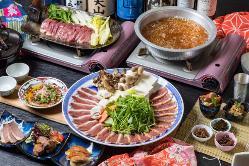しゃぶしゃぶ鴨鍋コース7,700円 鶏ガラベース出汁で肉厚鴨肉を