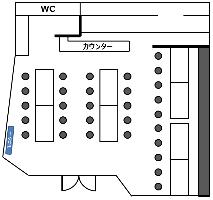 店内の内観図です。大型モニター、マイク、音響設備充実してます