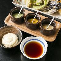 天つゆ・3種類の塩・タルタルで様々に味わえるこだわりの天ぷら