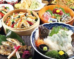 海鮮尽くしの宴会コースは5,000円からご用意しております。