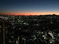 地上220Mから眺める絶景 夕闇に染まる新宿摩天楼と富士山