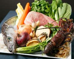 アワビ、伊勢海老、和牛など最高級の食材を使用