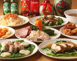 ご宴会コースは2,500円~テーブルにずらりと並ぶ本格中華