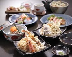 天ぷら+和食会席の両方が楽しめるコースは7,000円~ご用意