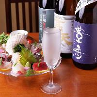 シャンパングラスで 日本酒をご提供