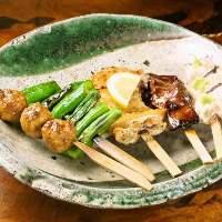 新鮮な大山地鶏と旬のお野菜。常時15種以上そろえております。