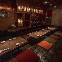 大人数様のご宴会にも対応できる掘りごたつ個室は大人気!
