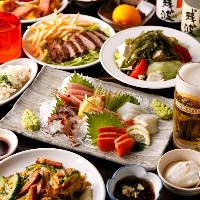 牛ステーキ&刺身!飲み放題付「なんちちコース」3,980円(税込)