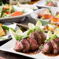 旬を感じる料理 牛ステーキの炙りがメインディッシュコースあり