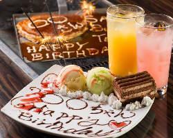 【お祝いに】 メッセージ入りデザート・お好み焼ご用意可能です