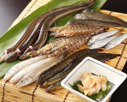 豊洲市場にて旬の食材を吟味して仕入れて参ります。