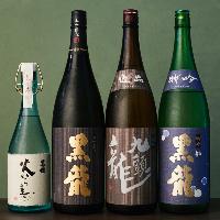 厳選日本酒は、黒龍など銘酒を五十種以上を取り揃えております。