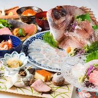 お祝い会席『慶福』には当店から鯛の姿造りをサービス