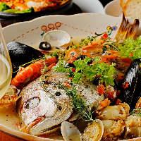 鮮魚を丸ごと1尾使用したアクアパッツァや豪華肉盛りプレート