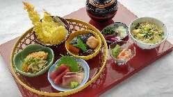 ■旬花御膳 1480円(税込)お刺身・天ぷら・煮物・茶碗蒸し