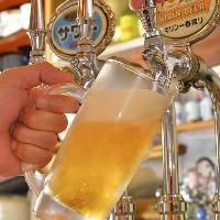 【注ぎたてビール】 手羽唐にはキンキンに冷えたビールが◎