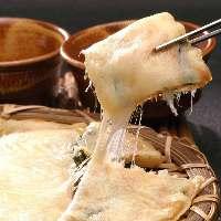【チーズチヂミ】 自家製タレとたっぷりのチーズはやみつき必至