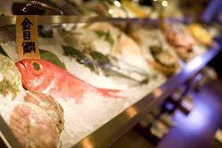カウンター前にはお魚と旬の野菜 おすすめの食べ方を聞いてね!