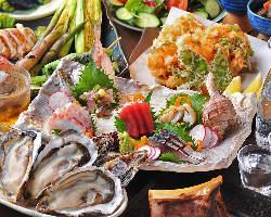 新鮮食材満載!の宴会コース。旬の味をお楽しみいただけます