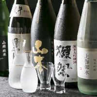 獺祭や楯野川など人気の銘柄が常時約10種揃う厳選日本酒