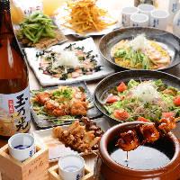 逸品料理を味わえる飲み放題付コースは3,490円(税込)~