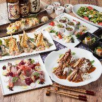和食や北海道グルメとともにお酒が楽しめる飲み放題付コースあり