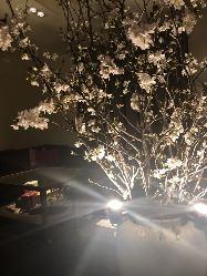 大きな桜が飾られてます