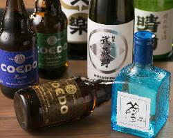 日本酒は地元・埼玉県産の「文楽」や「武蔵野」をラインナップ