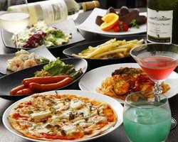 サラダ、前菜、ポテト、チョリソー、ピザ、パスタ、デザート♪