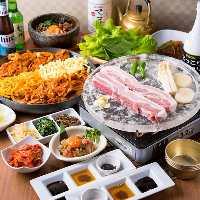 人気のタッカルビ、サムギョプサルの食べ放題コースあり