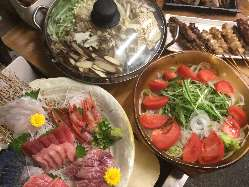 コラーゲン鍋と地鶏のコース!刺身は魚・馬から選べます