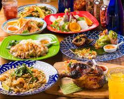 定番アジア料理が勢ぞろいの2コースは25種類2時間飲み放題付