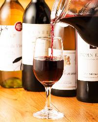 人気の日本酒・焼酎はもちろん、女性に人気のワインもご用意。