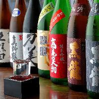 黒龍、久保田など店主厳選の多彩な地酒やそば焼酎をラインナップ