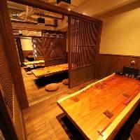 ◆一枚板のテーブルが重厚感漂う 掘り座卓個室(2名~35名様)