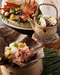 季節の旬味が愉しめる会席料理は目でもお愉しみいただけます