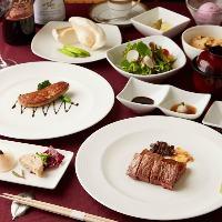 お肉や魚が入った自慢の鉄板焼コースは全5,000円~全4種ご用意